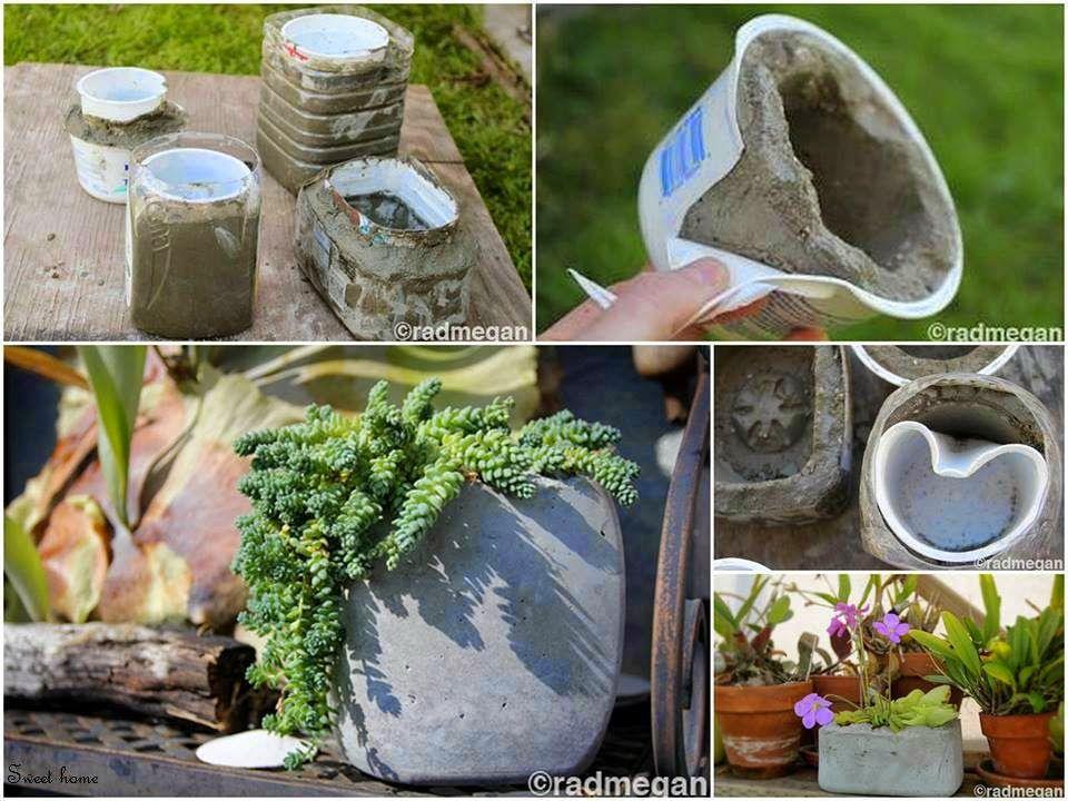 Enfeite De Jardin ~ Como fazer vasos de concreto com caixas de papel u00e3o, latas, baldes e copos plásticos para