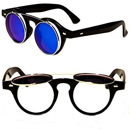 5da8e43773 Round Flip up 42mm Django Levante Gafas De Sol Sunglasses (Black   Blue Lens )