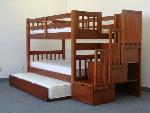 Bunk Beds Twin over Full Stairway Expresso + Trundle Awesome bunk