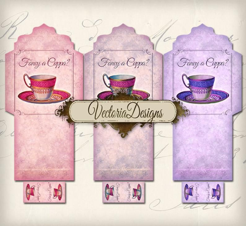 Printable Fancy a Cuppa Tea Bag Holder envelope tag instant download digital collage sheet VD0105
