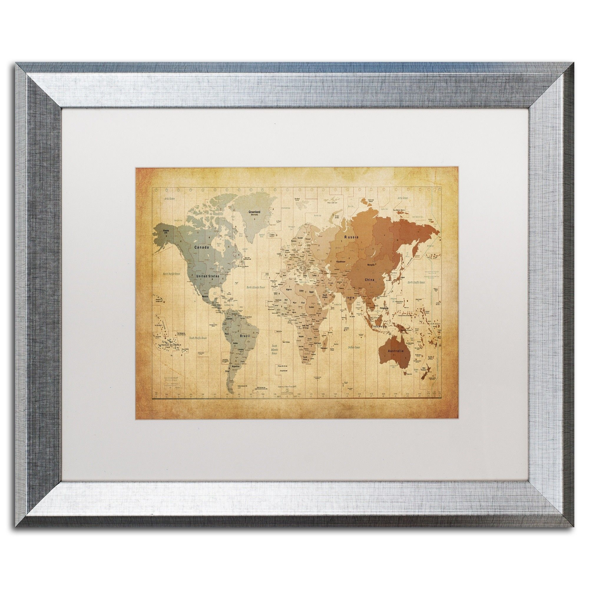 Time zones map of the world by michael tompsett framed graphic art trademark fine art antique world map canvas art by michael tompsett white matte silver frame size 16 x multicolor publicscrutiny Choice Image