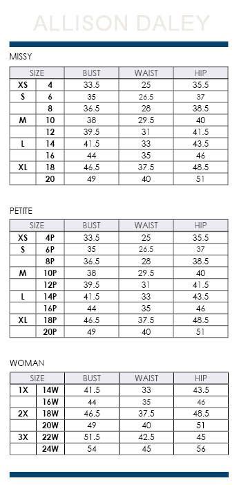 Allison Daley Regular Petite And Plus Size Charts Via Dillards