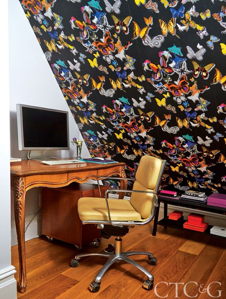 The designer invigorated an office alcove with Christian Lacroix wallpaper through Roche Bobois.