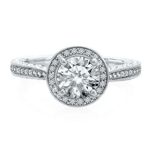 artiste by scott kay 14 ct tw diamond semi mount engagement halo ring in 14k white gold - Kay Wedding Rings