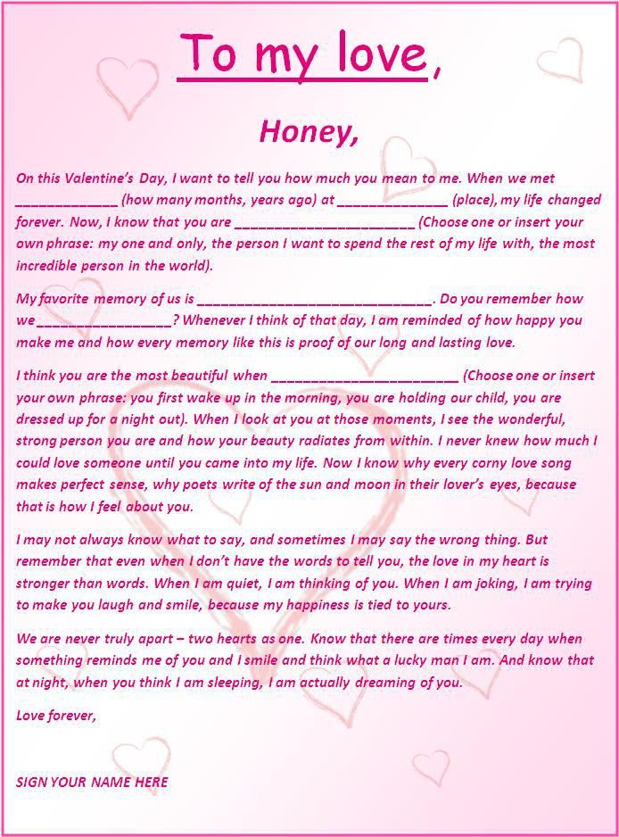 Romantic Letter Template  Templates    Letter