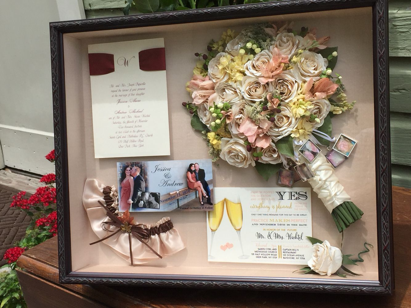 Our custom shadow boxes can hold more than your bouquet!