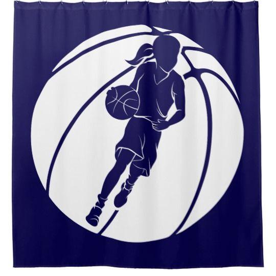 Basketball Girl Dribbling In Basketball Shower Curtain Zazzle