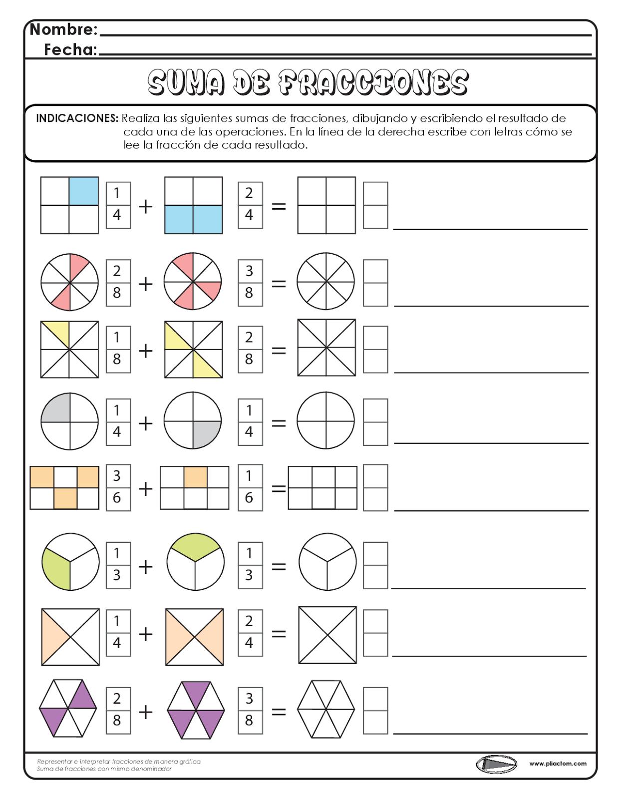 Suma de fracciones - Recursos e información para docentes. … | mate | P…