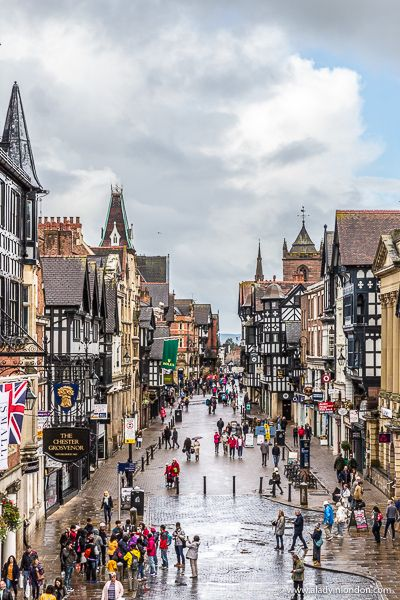 A beautiful street with historic architecture in Chester, England. This city is underrated and worth a special trip. Click through for more pictures on the A Lady in London blog. #chester #england