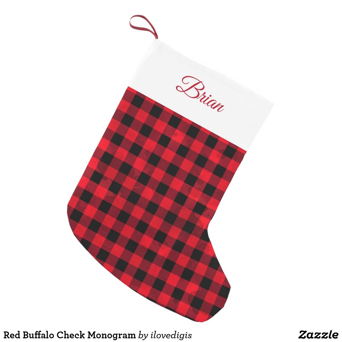 red buffalo check monogram small christmas stocking christmasgifts