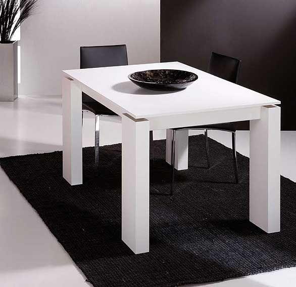 Mesa de comedor extensible blanca lacada | decoración hogar ...