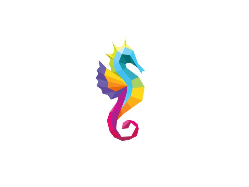 Seahorse Colorful Logo Design Graphic Design Logo Logo Color