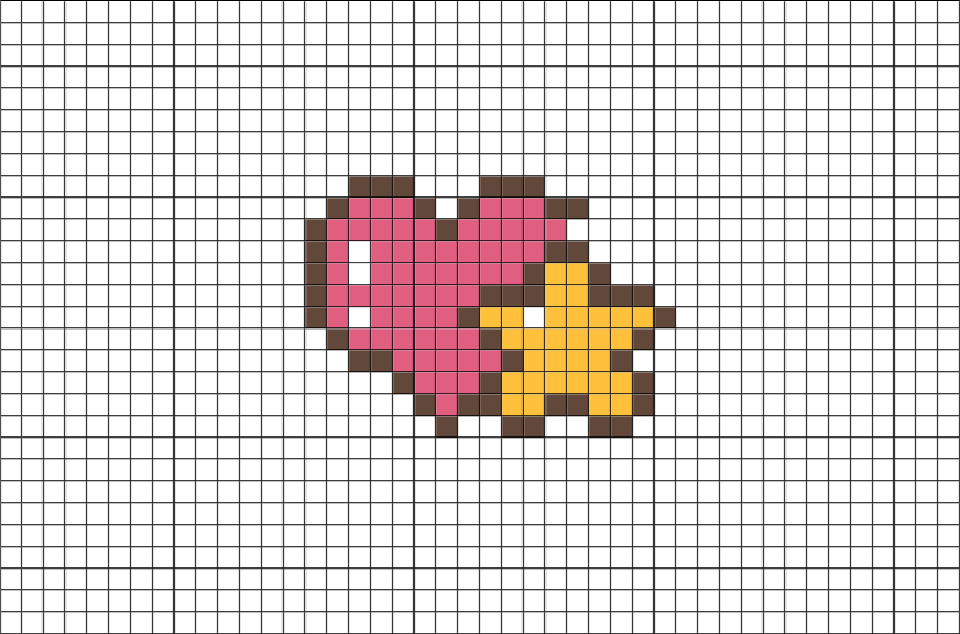 heart and star pixel art