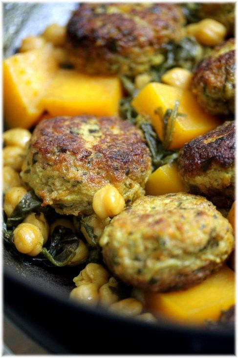 chicken meatballs with baby spinach and butternut squash