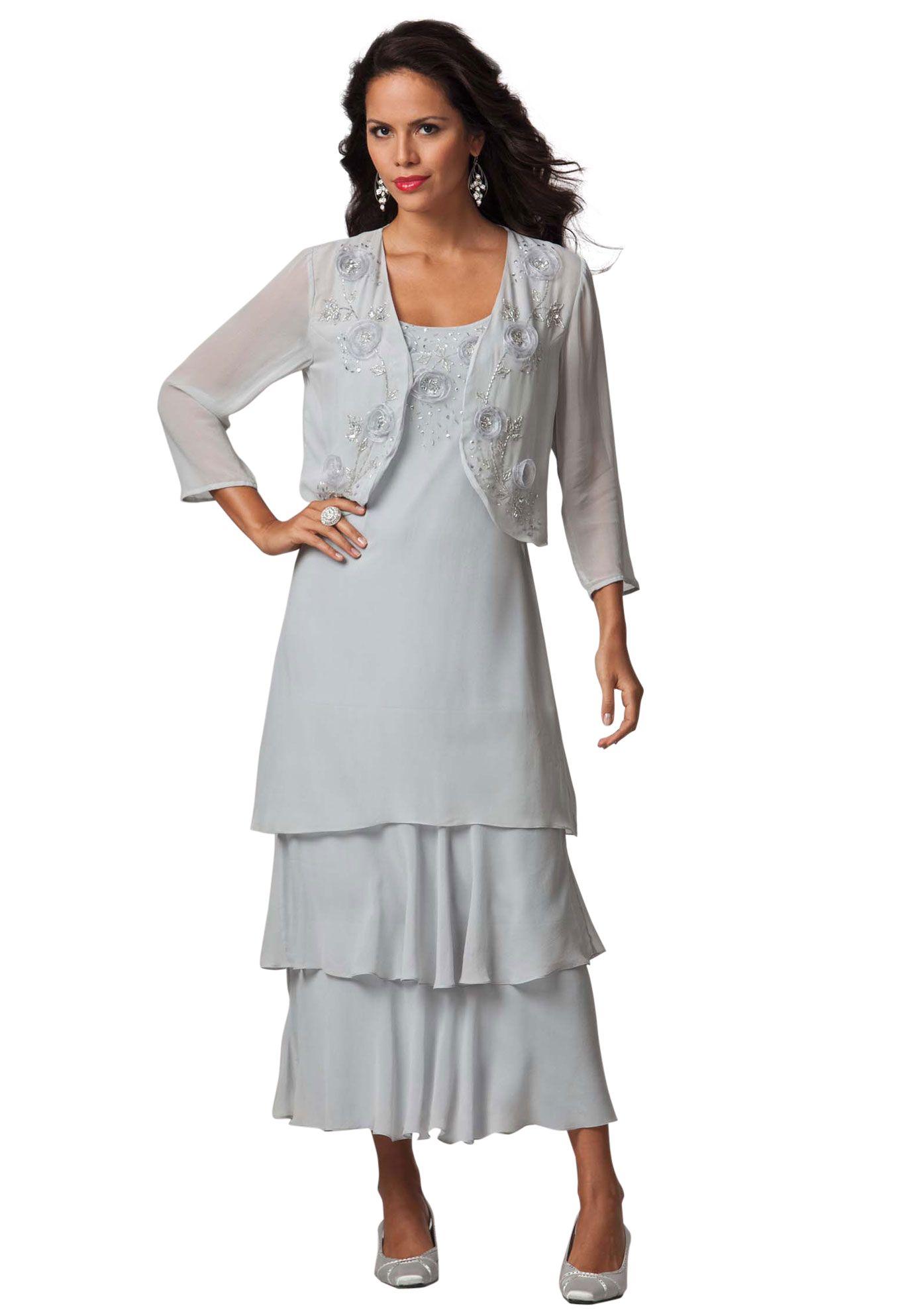 Plus Size Floral Beaded A-line Jacket Dress | Plus Size ...