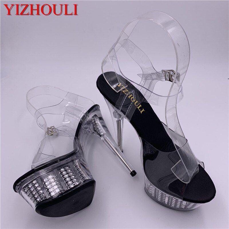2019 new transparent dinner shoes, 15 cm sequined platform