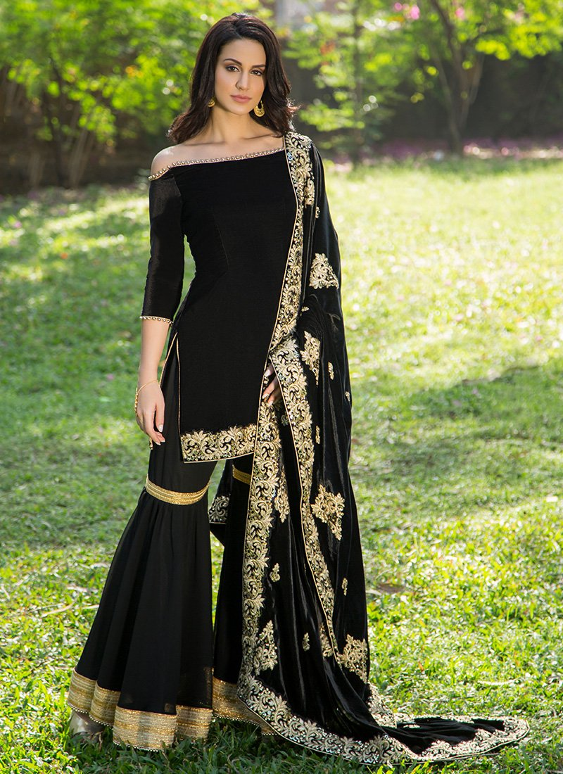 321a32d557 Black Velvet Gharara Suit with Embroidered Shawl Dupatta | Dresses ...