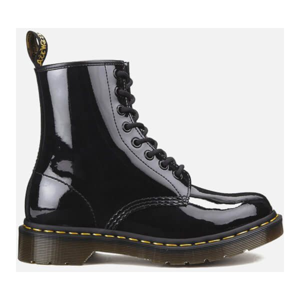Dr Martens Women S Core 1460 W 8 Eye Patent Lamper Boots Black 330 Tnd Liked On Polyvore Featuring Shoes Black Lace Boots Black Patent Boots Lace Boots