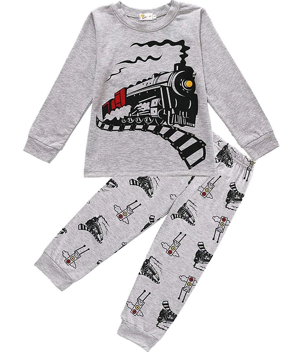 Short Pants Summer Clothes Sets 2-7 Years Old Infant Kids Baby Boys Dinosaur Pajamas Sleepwears Cartoon Tops 2T, Dark Blue
