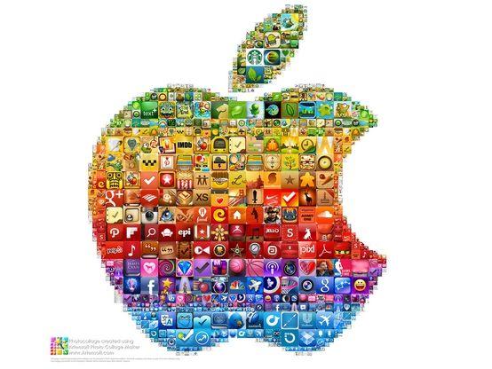 Apple logo photocollage created using coloured iPhone