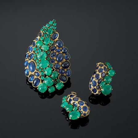 Belperron|Products|Vintage Paisley Serti Couteau Brooch and Earclips