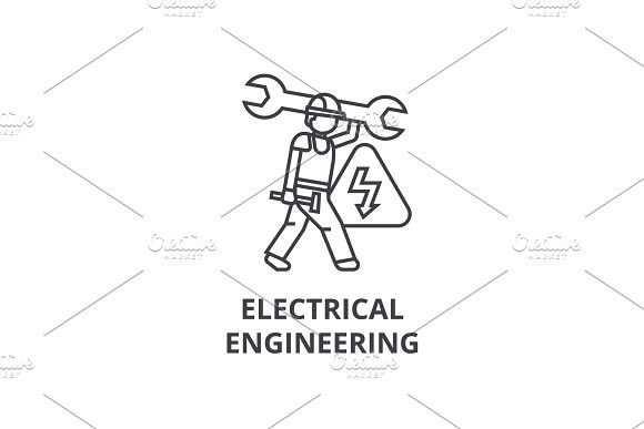 Electrical engineering vector line icon, sign