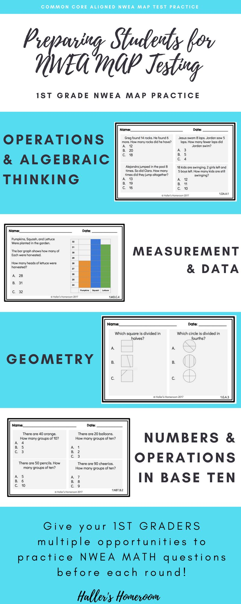 1st Grade NWEA MAP Math Practice Questions [RIT 161-178 ...