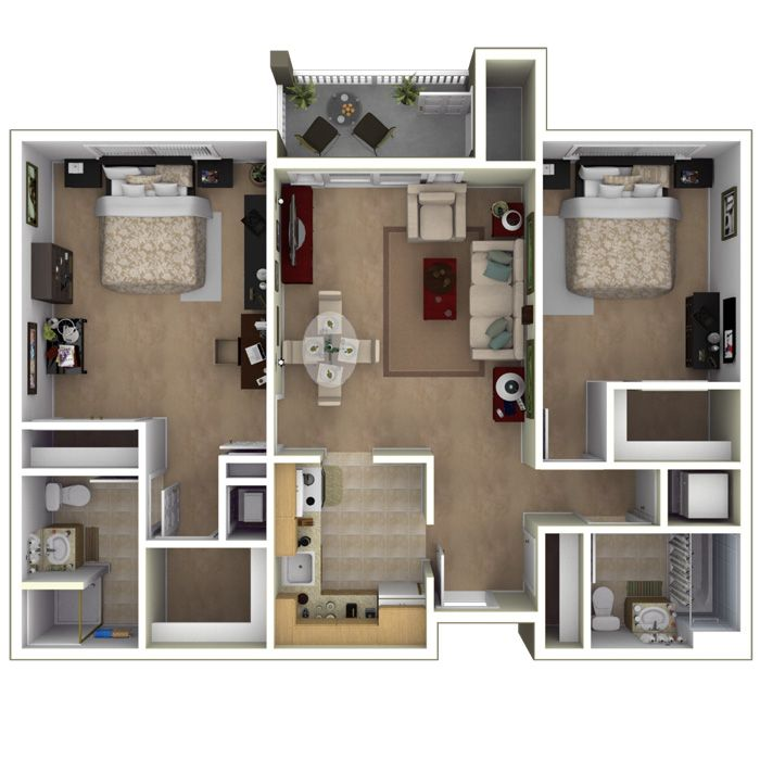 Apartments For Rent Two Bedroom: 800 Square Foot 2 Bedroom Split Floor Plan Apartment