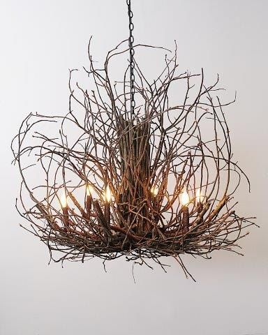 Wildwood Rustic Hickory Twig Branch Chandelier   Branchelier In Natural Or  White Amazing Ideas