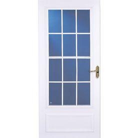 Larson 32 In X 81 In White Colonial Mid View Tempered Glass Storm Door Glass Storm Doors Remodeling Costs Storm Door