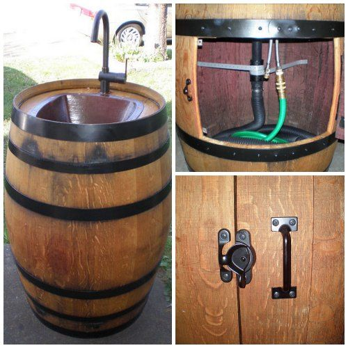 turn a wine barrel into an outdoor sink http homestead
