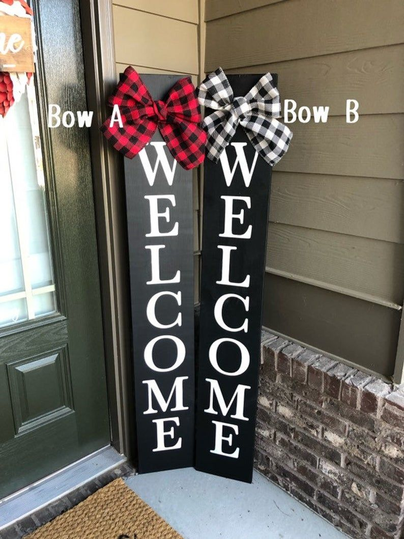 Black Welcome Sign With Bow, Porch Welcome Sign, V