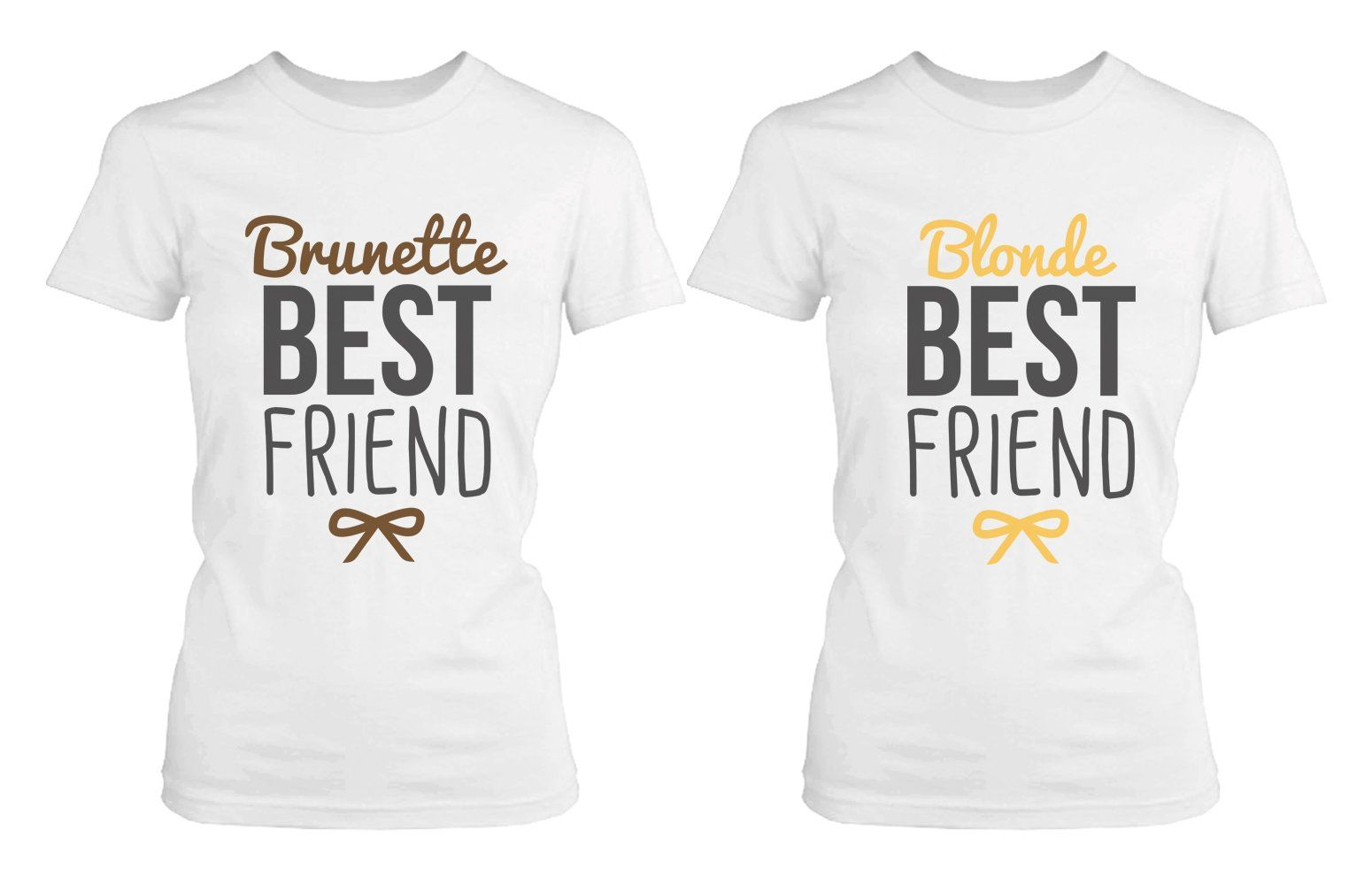 22c6dfd94 Amazon.com  Best Friend Shirts - Blonde and Brunette Best Friends Matching  BFF White Shirts  Clothing