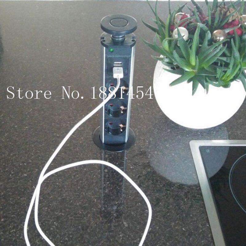 220V 16A PULL POP UP Electrical 3 Plug Socket 2 USB Outlet ...