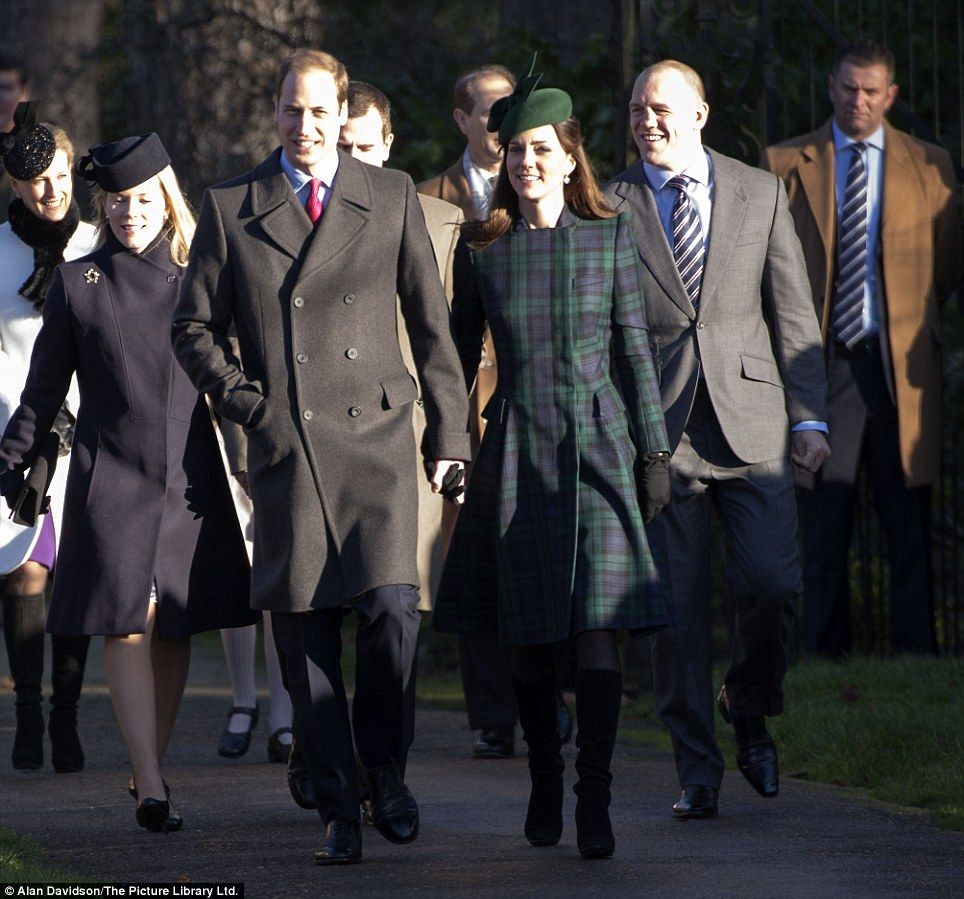 Walking to church for the traditional Christmas Day service, McQueen coat, Gina Foster hat