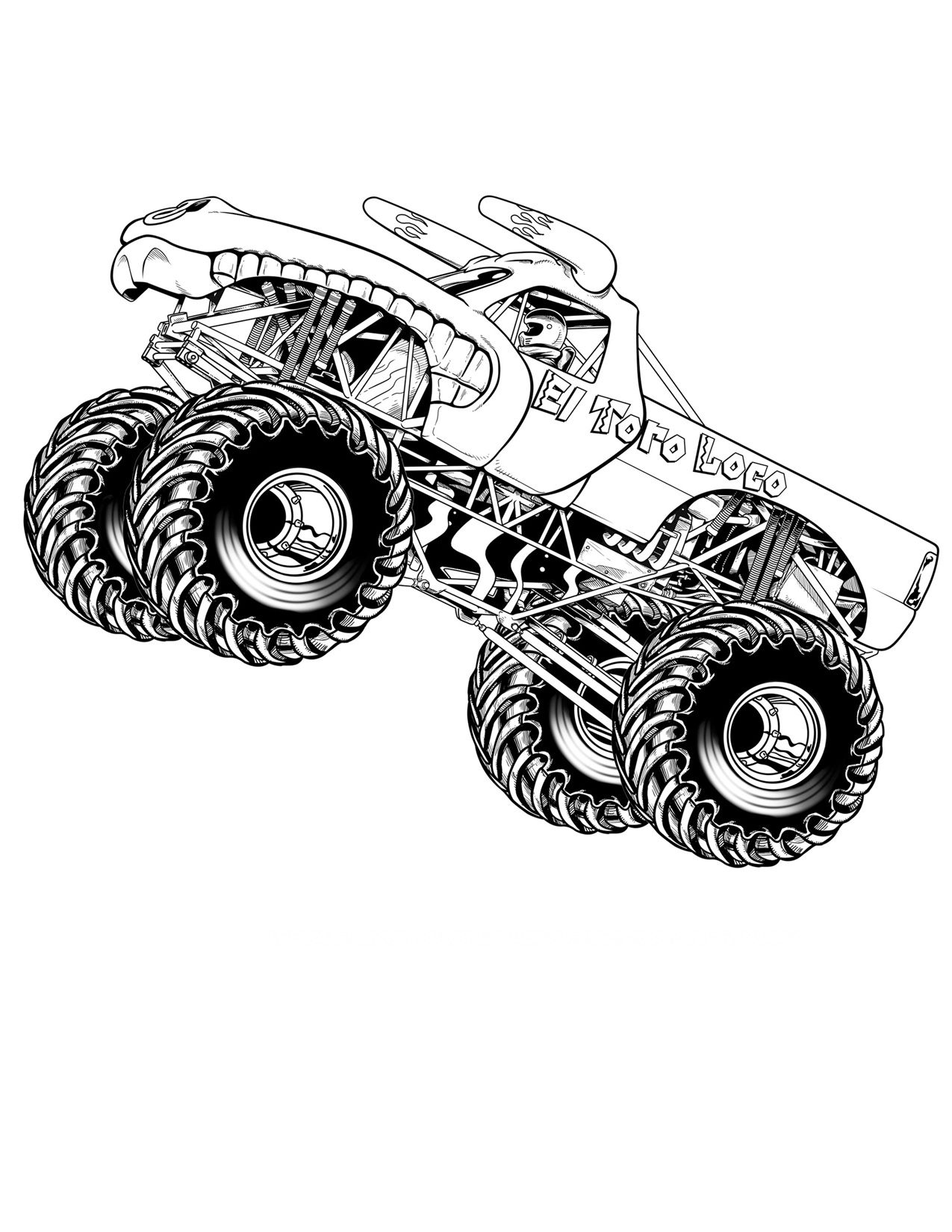 Online coloring hot wheels - Free Printable Monster Truck Coloring Pages For Kids