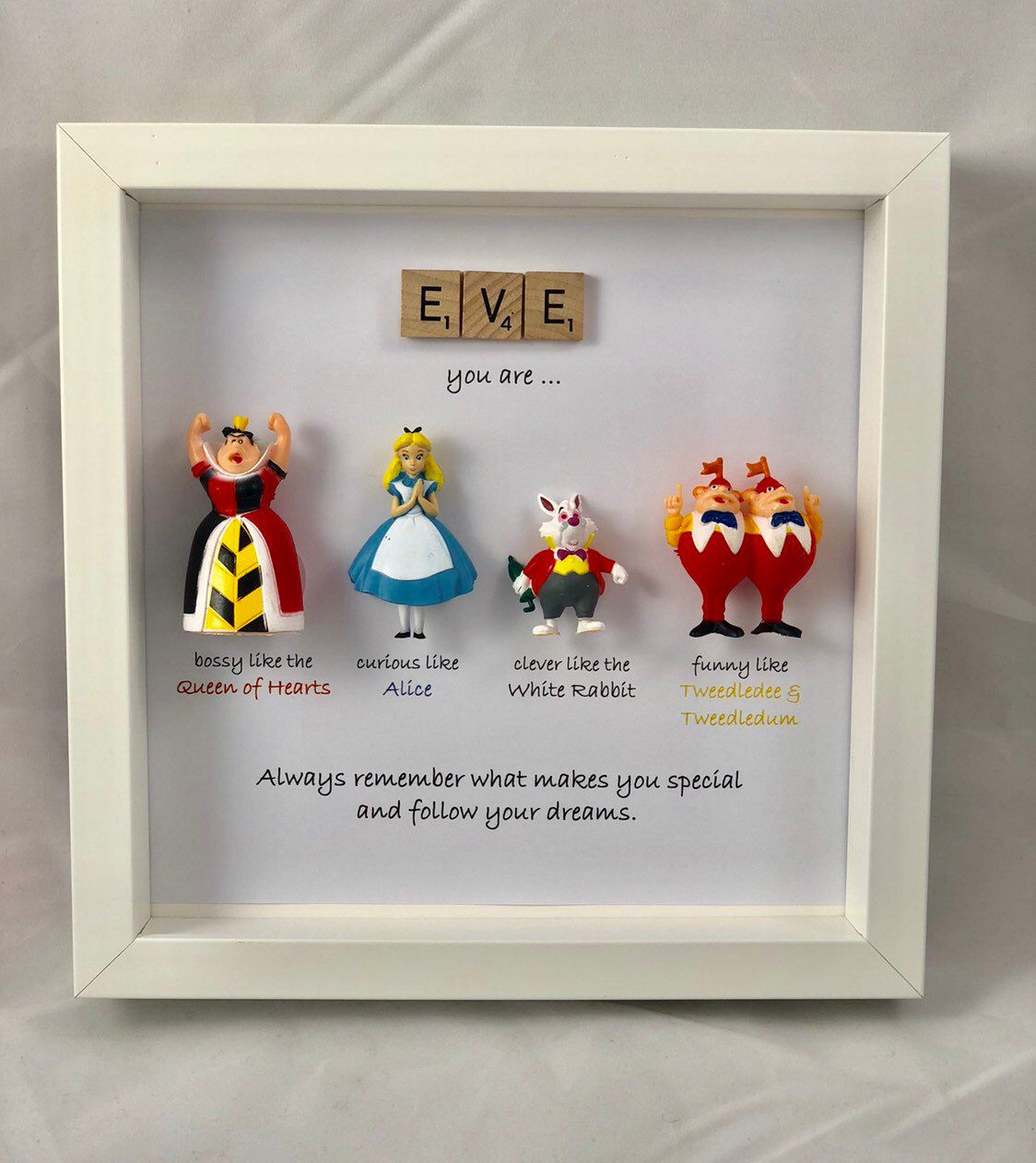 Alice in wonderland and friends style frame- sister- daughter-friend- flower girl gift- son #giftsforsister