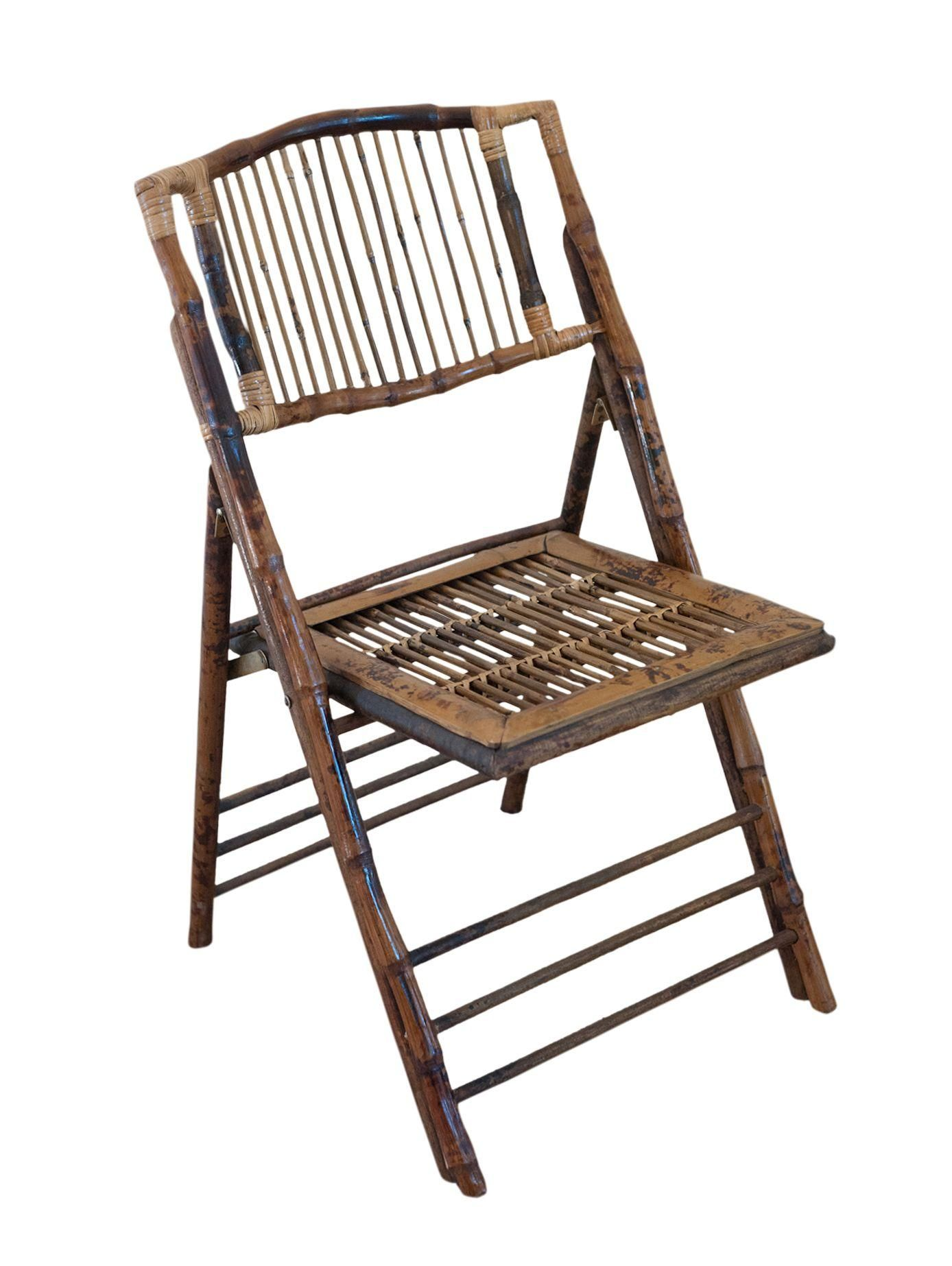 Vintage Tortoise Shell Bamboo Folding Chair on Chairish