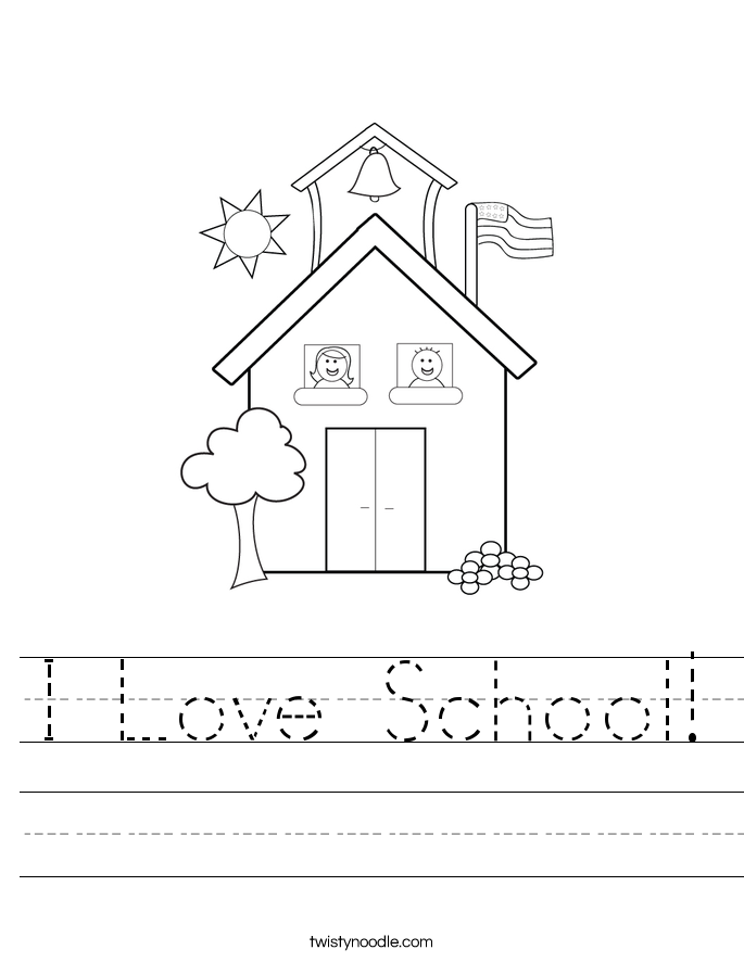 Color the Schoolhouse – Elementary School Worksheets