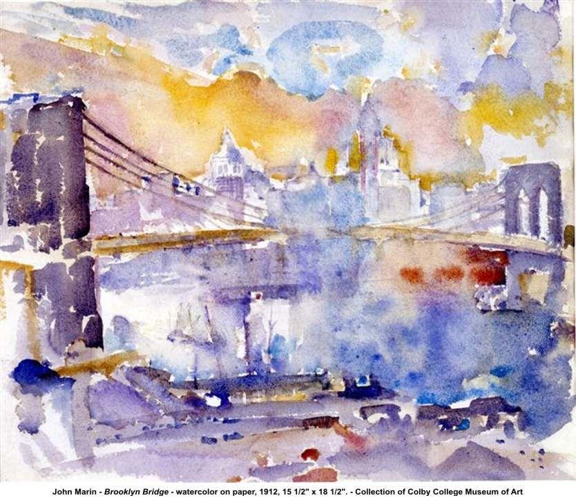"""Brooklyn Bridge"" Artist: John Marin  Completion Date: 1912  Style: Impressionism  Genre: cityscape"