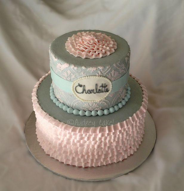 Cake · Vintage Damask Pastel Ruffle Baby Shower ...