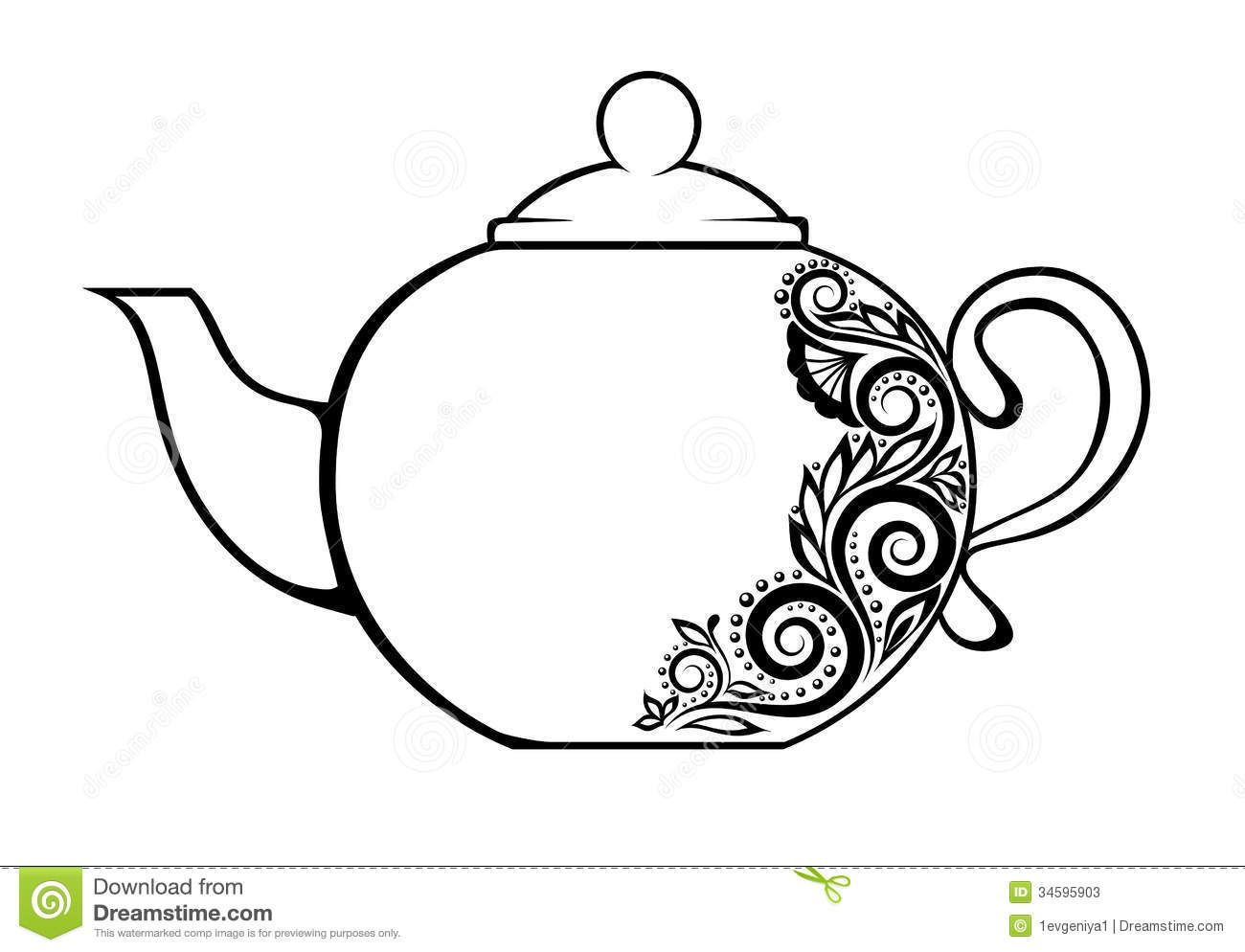 Beautiful Teapot Decorated With Black And White F Tea Tattoo
