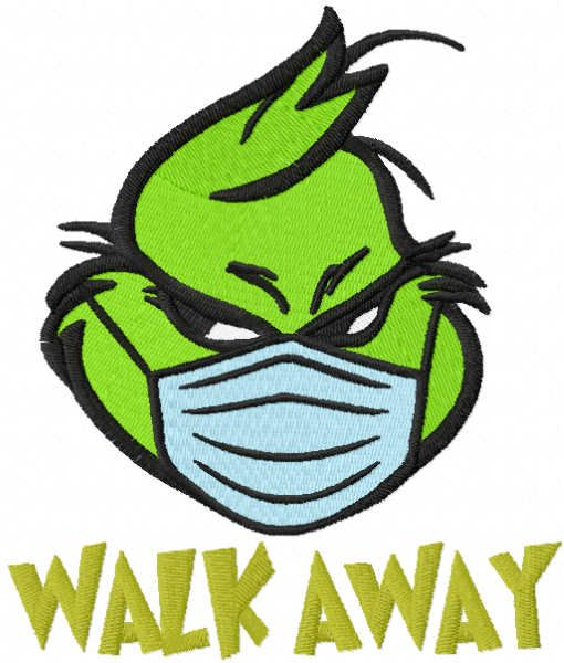 Grinch walk away embroidery design