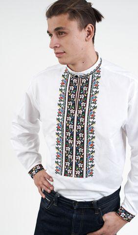 684a44d1f8462e Вишиванка чоловіча біла з кольоровою вишивкою арт. 185-15/09 купити в  Україні