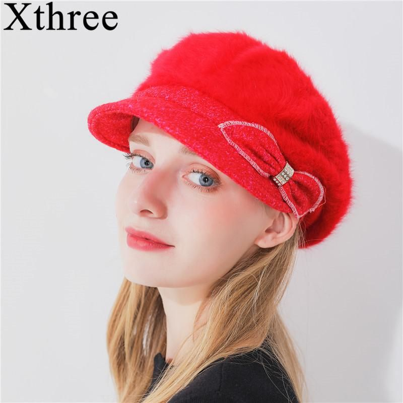8804f213 Xthree Fashion Solid Winter Women'S Hat Rabbit Fur Octagonal Hat With –  FuzWeb