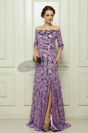 The sequins Malay satin purple evening dress by cookshengtong