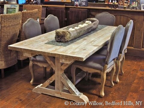 Country Willow Furniture 7ft Garden Trestle Table Antique Pine