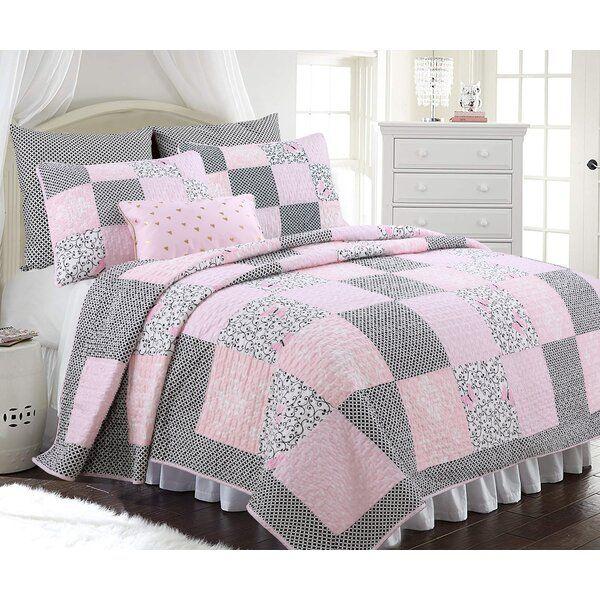 Details about  /100/%Cotton Pink Floral Bedspread Plaid Patchwork Bedspread Coverlet Quilte set