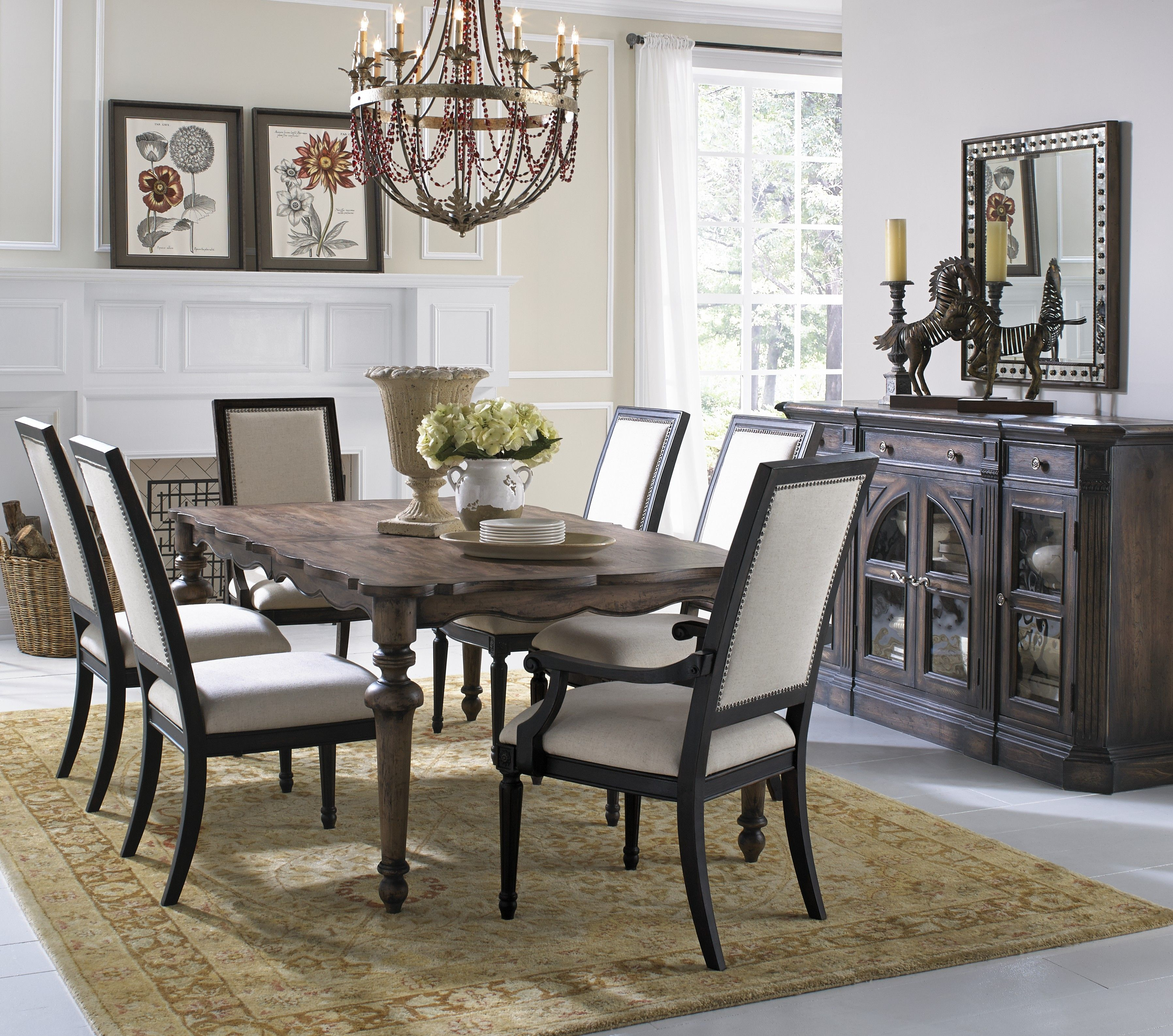 Dark Wood Dining Table With Scalloped Edges From Accentrics Home By Pulaski  Furniture.