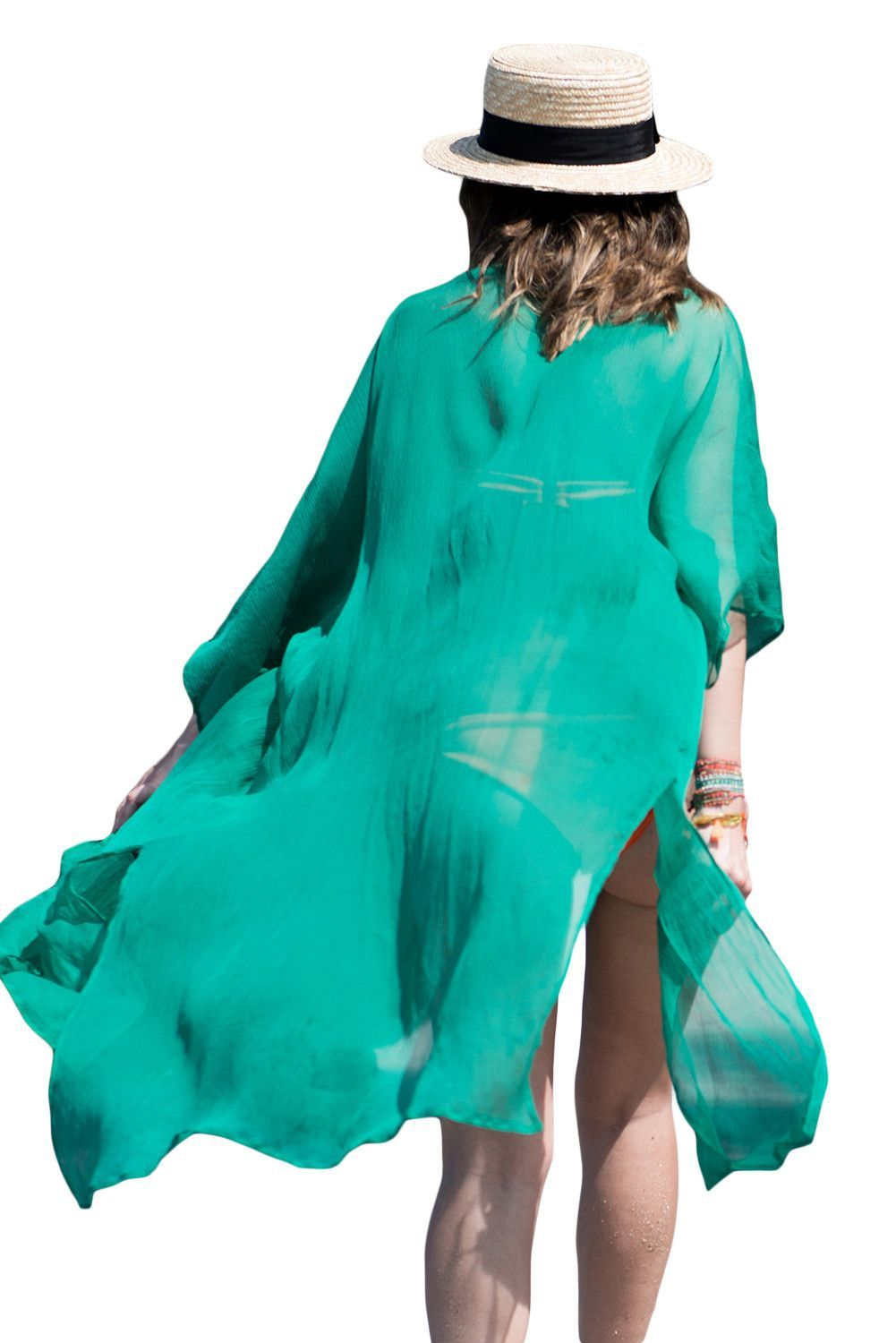 Green crinkle sheer chiffon long beach kaftan ocean long kaftan